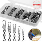 100/200Pcs Fishing Connector Stainless steel swivel Pin Bearing Swivel with Snap