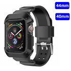 For Apple Watch 4 40/44mm Case Silicone Rugged Protective Cover+Strap Band Black