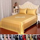 4  pcs 19MM Seamless Silk Flat Sheet Silk Fitted Sheet Pillow shams Set All size