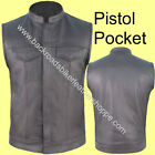 LEATHER MOTORCYCLE BIKER VEST OUTLAW STYLE GUN PKT