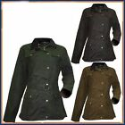 WOMENS FITTED UTILITY WAX COTTON JACKET WITH SIDE VENTS WAIST BELT