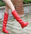 Womens Flat Tall Knee High Pull On Riding Boots Red