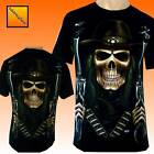 The Grim Reaper Biker  Cowboy Skulls Tattoo T Shirt