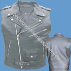 MENS LEATHER MOTORCYCLE BIKER JACKET SLEEVELESS VEST