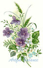 Ceramic Decals Purple White Violet Floral Bouquet image
