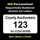 260 Personalised Auction Lot Labels Numbered 1 - 260
