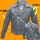 Mens Classic Vintage Retro Style Leather Biker Motorcycle Jacket no waist belt