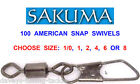 100 SAKUMA AMERICAN SNAP SWIVELS RIG LINK FOR GAME COARSE SEA FISHING RIGS LURES