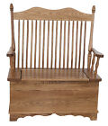 Amish Hoosier Solid Wood Bench with Storage Country Cottage Entryway Blankets