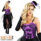 Burlesque Moulin Rouge Purple Fancy Dress Ladies Costume Dancer Adult Outfit