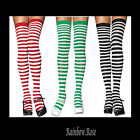 Socks Over Knee Sexy Sox White STRIPE Black, Green or Red Clown WITCH Elf