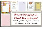 Sheets Of Thank You Note Pad  Any Occasion Christmas Engagement Wedding Sympathy