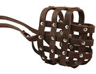 "Genuine Leather Basket Dog Muzzle 13""- 3.5"" snout size  Boxer Bulldog"
