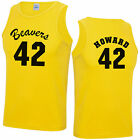 Beavers 42 Yellow Basketball Vest Top       Fancy Dress T-Shirt Howard Teen Wolf