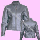 LADIES WOMENS BLACK LEATHER BIKER MOTORCYCLE JACKET W/ZIP OUT LINER SIZES S-3X