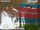 100 x CLEAR PLASTIC STARS SMALL GIFT PARTY CARRIER BAGS SHOPS SWEETS 3 SIZES UK