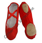 Child Red split-sole  Canvas Ballet Slippers shoes Size 10 - 3.5 Brand New