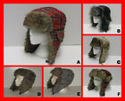 Lumberjack Tartan Self Check Dog Tooth Faux Fur Lined Ear Flap Trapper Hat Cap