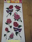 SHEET GIRLS LADIES TEMPORARY TATTOOS 7RED ROSE FLOWERS HEARTS BLACK BANDS CIRCLE