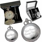 Personalised Silver or Gold Pocket Watch in Gift Box Engraved Bestman Groomsman