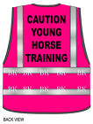 HI Viz Vis Safety Vest Horse Riding CAUTION YOUNG HORSE TRAINING Pink or Green