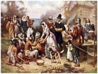Decor 1800's Poster. Feeding the Pilgrims Fine Graphic Art.  Wall Design 1412