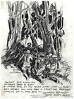 Decor Drawing Poster. Front Line at jungle. War Graphic Art Design Art. 1478