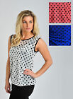 Womens Sheer Spot Top Sleevless Polka Dot Blouse in Blue White Pink Ladies New