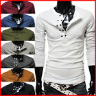 (DK13) TheLees Mens Casual Slim fit Long Sleeve Button Point Tshirts