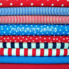 STARS STRIPES DOTS POLY COTTON FABRIC p mtr  CHOOSE YOUR DESIGN red white blue