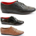 Ladies Brogues Lace Up Flat Pumps Casual Girls Vintage Retro Brogue Shoes Size