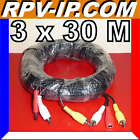 30 Metres 30 M Cable RCA Audio Video Alimentation pour Camera VideoSurveillan​ce