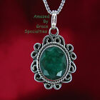 Sterling Silver Genuine Rough Cut Emerald Scroll Pendant with Chain Choice
