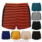 NEW LADIES PVC SIDE PANEL HIGH WAISTED HOT PANTS WOMENS SHORTS SIZE 8-14