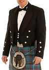 Great Gift: Scotland Black Prince Charlie Jacket & 3 Button Waistcoat 100% Wool