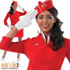 Red Cabin Crew Fancy Dress Virgin Air Hostess Ladies Fancy Dress Costume Outfit