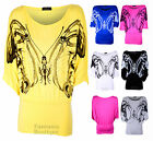 LADIES BATWING BUTTERFLY GLITTER PRINT 3/4 SLEEVES WOMENS DRESS STRETCH TOP 8-14