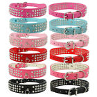 New Rhinestone 3 Row Diamante Suede Leather Softer Bling Dog Puppy Collars S M L