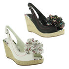 New Ladies Peep Toe High Heel Wedge Slingback Platform Sandals Size 3 4 5 6 7 8