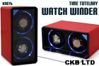 1 TIME TUTELARY KA076 PU LEATHER AUTOMATIC DOUBLE WATCH WINDER FOR TWO 2 WATCHES
