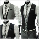 VE35) THELEES Mens Casual Layered Style 3 Button Slim Vest Waistcoat M L XL 2XL