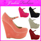 NEW LADIES PLATFORM HIGH HEEL CONCEALED WEDGE SANDALS COURT SHOES SIZES UK 3-8