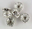 TBB 12, 8x4mm SP Crystal Clear or Jet Black FC Rhinestone Spacer/Rondel Beads