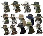 Boonie Fishing Hiking Army Military Ear Long Flap Snap Bucket Neck Cover Hat