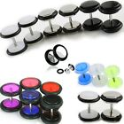 3 pairs of Cheater faux fake Ear Plugs Gauges Tapers White Black Stainless Steel