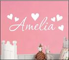 Personalised Name Heart Wall Art Sticker Text Girls Nursery Bedroom Decal Decor