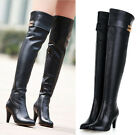 Womens Genuine Leather Metal Strap High Heel Over The Knee Boots Plus Size #218