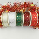 3x metres christmas gold star wired ribbon red white cream green burgundy 25mm