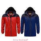 BRAVE SOUL MENS FLEECE LINING RED ROYAL BLUE WATERPROOF JACKET RAIN COAT S-XL