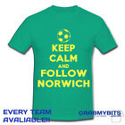 PRINTED KEEP CALM FOOTBALL SUPPORTER T SHIRT ADULT/KIDS SIZES - NORWICH